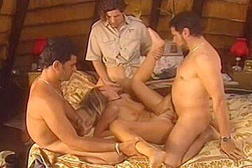 Foursome in hut...