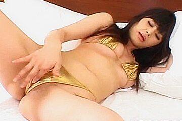Haruna ayase gets penis under golden thong...