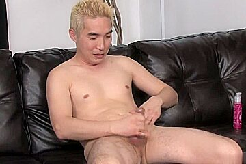 Blonde gets his cock stiff leather couch...