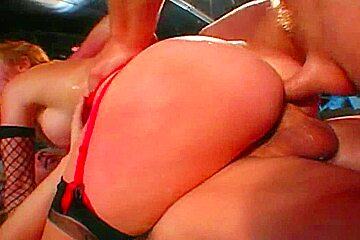 Sassy redhead gets double penetrated...