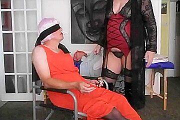 Smoking mistress plays with non smoking sissy slave...