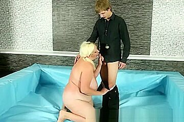 Blonde and sucks cock for this guy...