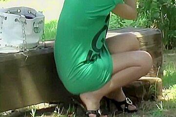 Schoolgirl's undies exposed to the public by skirt sharker