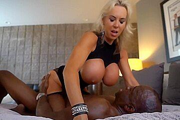 Impressive blonde milf boobs is having a...