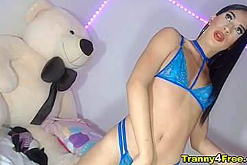 Lady tranny in blue two piece...