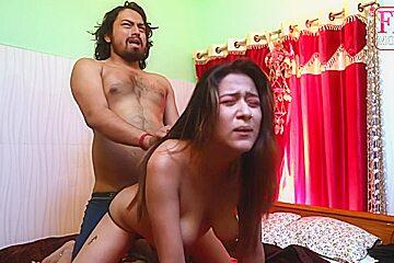 Amateur asian senior couple make love...