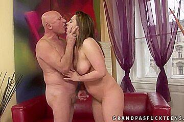 Brunette andi pleasures filthy grandpa...