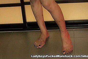 Ladyboy and cock bareback gape...