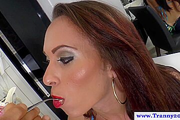 Busty tranny fed and assfucked...