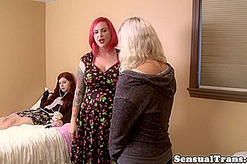 Redhead tgirl fingering pussy until squirting...